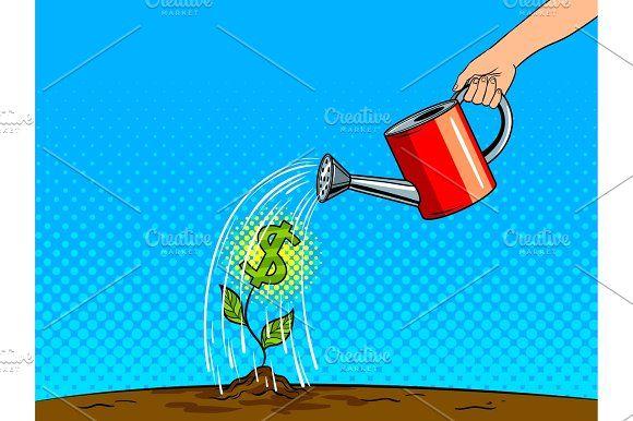 Money plant metaphor pop art vector illustration Graphics Money plant watering p… – Draw