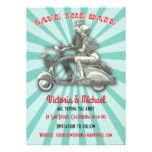 Save the date Retro Couple on moped bike Card