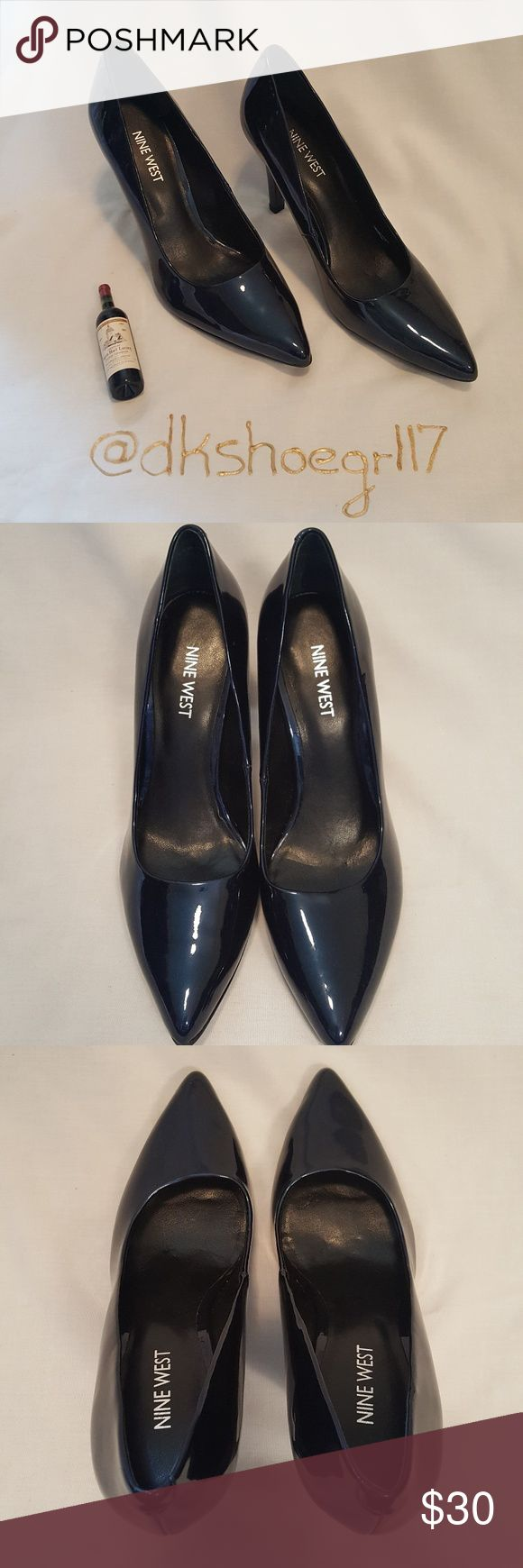 NWOT!!! Nine West Navy Patent Leather Pumps Navy pointy toe patent leather pumps by Nine West.  Classic pump & great for the office! Pair with light colored dress pants & a dark shirt or with any color knee length dress or skirt to rock every meeting in style!!! 4 inch heel height, never been worn!!! Also available in gold, ask about a bundle! Nine West Shoes Heels