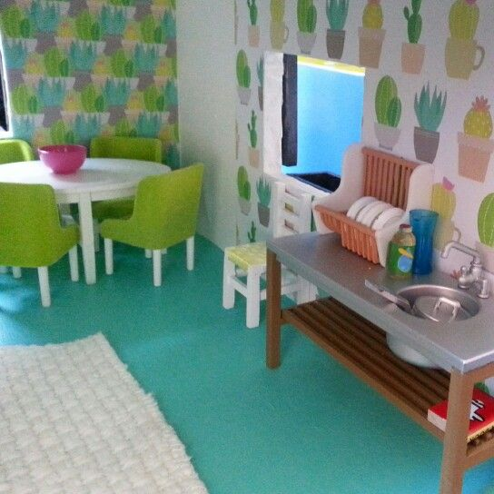Cactus kitchen. Dolls house makeover by @cupcakecutieone.  www.cupcakecutie1.blogspot.com #dollshousemakeover #lundby