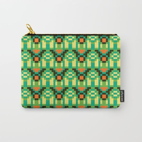 Helena N / Society6  Organize your life with our Carry-All Pouches. Available in three sizes with wraparound artwork, these pouches are perfect for toiletries, art supplies or makeup. Even an iPad fits into the large size. Features include a faux leather pulltab for easy open and close, a durable canvas-like exterior and a 50/50 poly-cotton black interior lining. Machine washable.