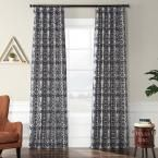 Exclusive Fabrics & Furnishings Firenze Silver and Blue Flocked Faux Silk Curtain – 50 in. W x 108 in. L, Firenze Silver & Blue
