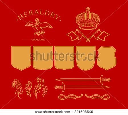 Vector elements coat of arms design template. Crown, shield, sword, circle, sun, garland, flag, rope, feather icons isolated.  - stock vector