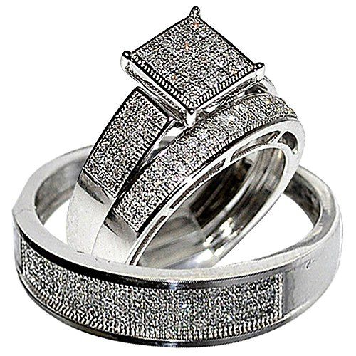 his her wedding rings set trio men women 10k white gold rings midwestjewellerycom - Wedding Rings Sets For His And Her