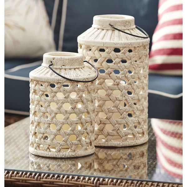 Ormond Candle Lantern | Inspired by wicker latticework, this artfully sculpted ceramic candle lantern is crafted with textured detailing and a weathered finish.
