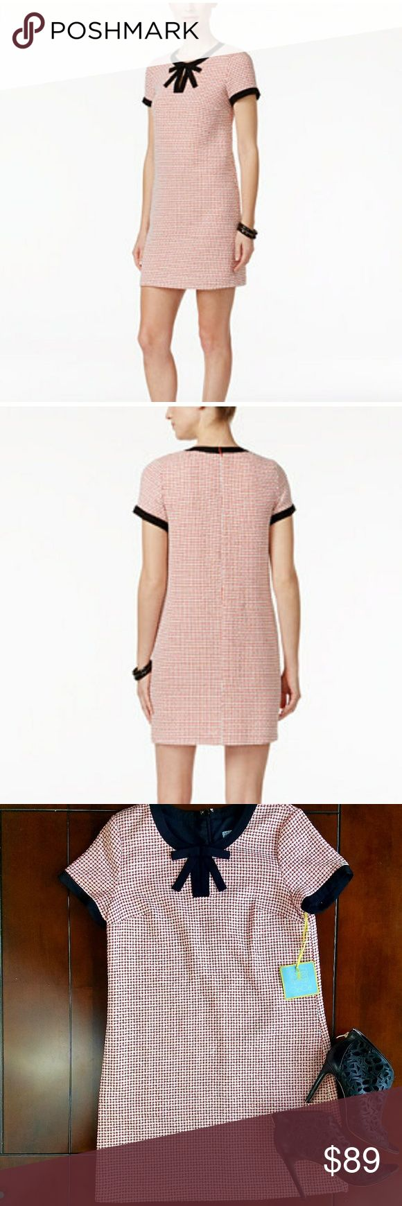 NWT Tweed Shift Dress with Bow Cece sz 12 Available NWT Cece tweed shift dress features high neckline witj bow detail and keyhole. Back zipper closure. Short sleeves. Lined. Hits above knee. Dry clean. Cynthia Steffe Dresses
