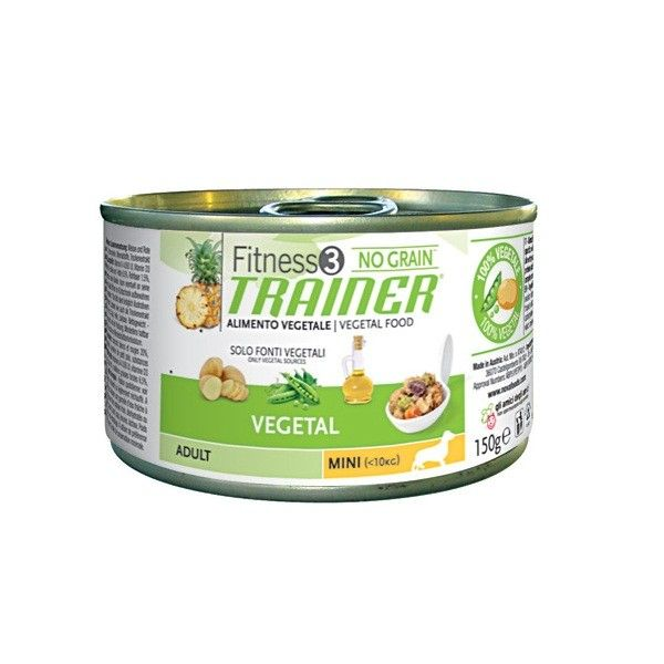 TRAINER FITNESS 3 NO GRAIN ADULT MINI VEGETAL 150 GR  Alimento completo vegetale per cani di piccola taglia (fino a 10kg. di peso) da 1 a 8 anni di età.  1,39 €  https://www.pets-house.it/per-cani-allergici/2375-trainer-fitness-3-no-grain-adult-mini-8059149006901.html