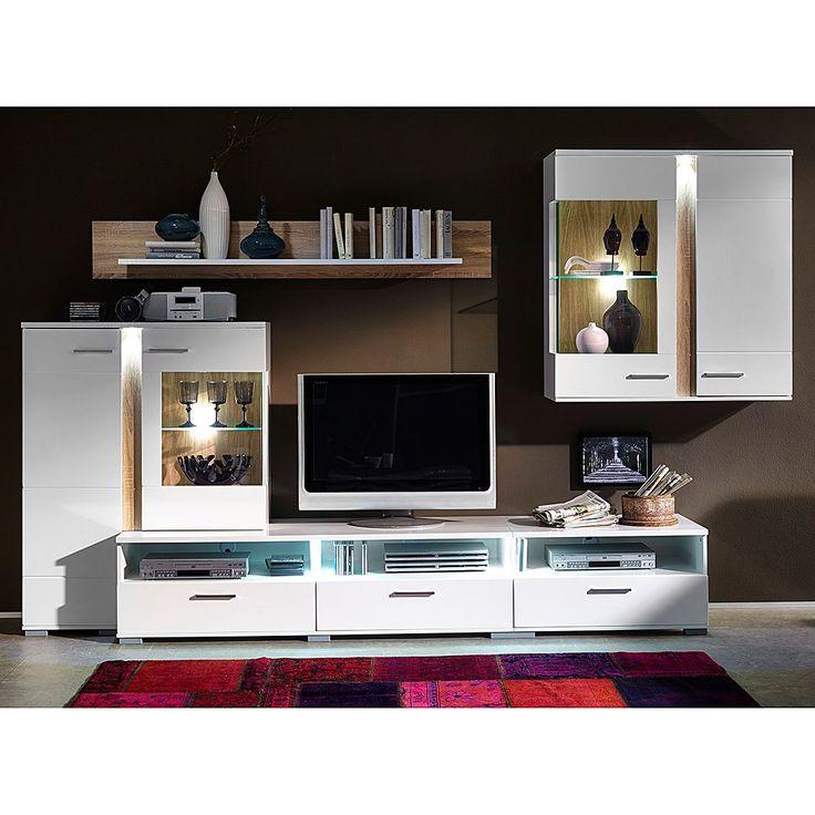 die 25 besten ideen zu wohnwand wei hochglanz auf. Black Bedroom Furniture Sets. Home Design Ideas