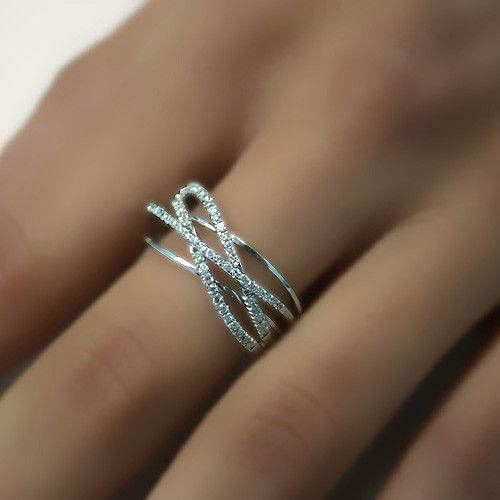 Art Deco Wedding Ring Twisted Diamond Wedding Band by ldiamonds