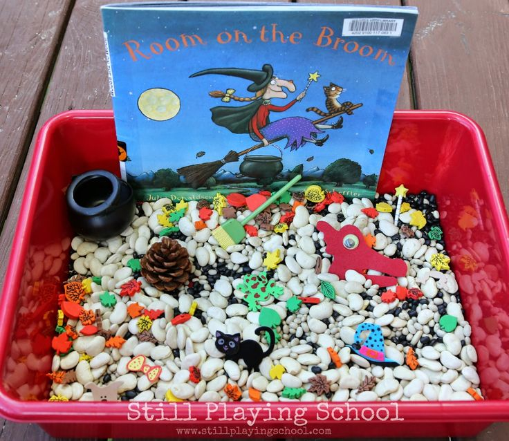 Still Playing School: Room on the Broom Sensory Bin