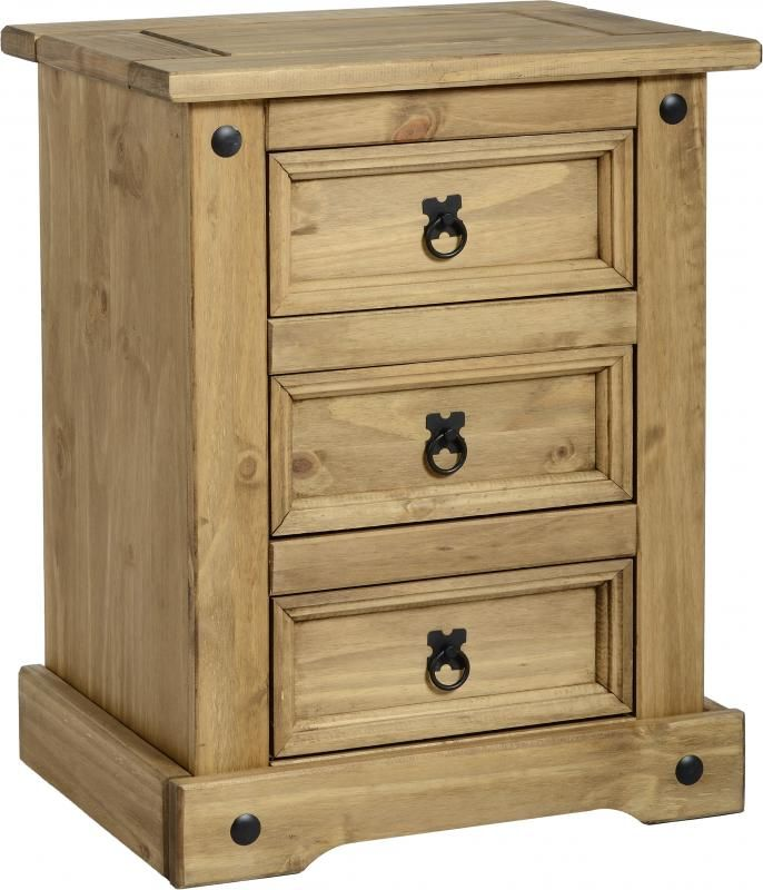 Best Of Pine 3 Drawer Bedside Cabinet