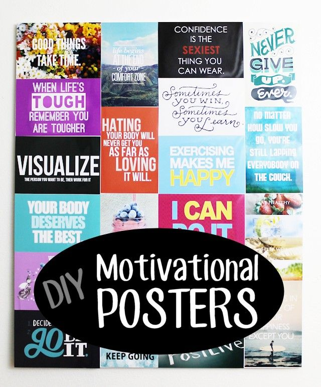 """Are you in need of some extra motivation for exercising… or even in genera? Make yourself a motivational wall collage! I follow a site online that posts dozens of these little positive quotes every day so I downloaded a bunch of my favorites and got them printed as 4""""x6"""" photos. Then I took a piece of foam board and glued them on. It turned out awesome! You can makes these with your own images of course but I provided the positive motivation quotes that I used as a FREE DOWNLOAD."""