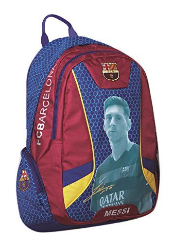 BEAUTIFUL (!!) Official Licensed Genuine LIONEL MESSI IMAGE & SIGNATURE FC Barcelona Triple Fill High Quality PREMIUM Orthopedic Backpack - Licensed FC Barcelona Merchandise & New with Tags