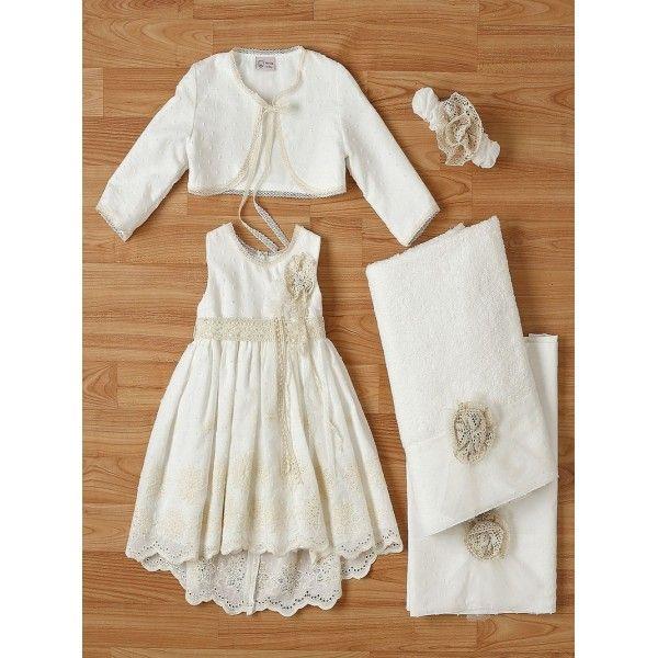 f622647ecea2 Βαπτιστικό φόρεμα οικονομικό μοντέρνο New Life από βαμβακερή δαντέλα με  μπολερό