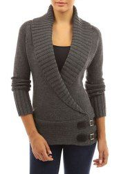 Chic Turn-Down Neck Long Sleeve Button Design Sweater For Women (GRAY,M) | Sammydress.com Mobile