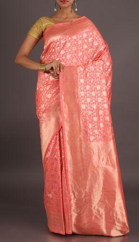 Darshana Pale Pink With Fine Silver Ornate Pure Banarasi Brocade Silk Saree
