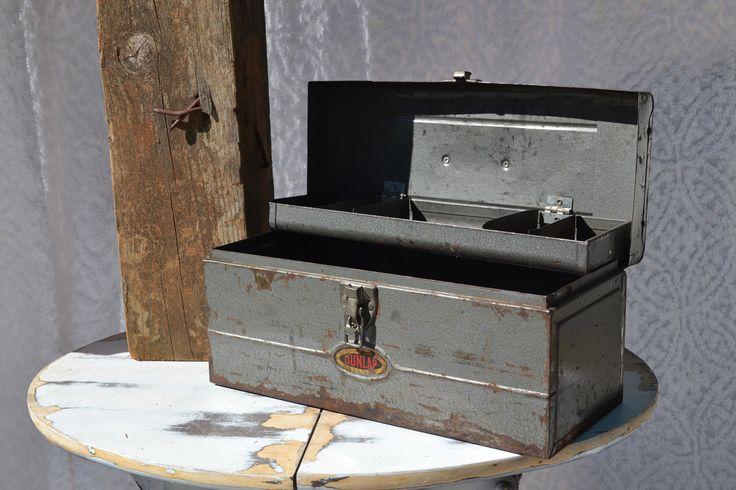 1950s Vintage Metal Tool Box    Dunlap Metal Tool Box. Industrial Tool Box. Rustic 50s Tool Box. Industrial Metal Box. Mid Century Metal Box by RustyNailSalvageCo on Etsy https://www.etsy.com/listing/498576528/1950s-vintage-metal-tool-box-dunlap