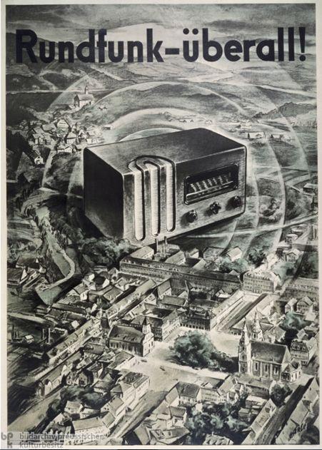"""Радио Везде! (Реклама, 1935) Известно как """"морда Геббельса"""" [Goebbelsschnauze]. К 1942 году у 16 000 000 домохозяек, т. е. около 70% населения, были радиоприёмники."""