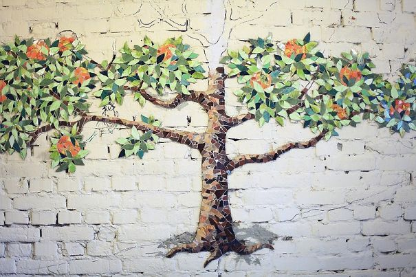 Orange Tree Wall Design From Small Pieces Of Mosaic | Bored Panda