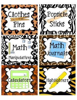 This is a set of classroom supplies labels for a safari / jungle theme classroom. Labels have animal print borders which include: tiger, leopard, zebra, giraffe, elephant, and snake prints along with words and pictures of school supplies.