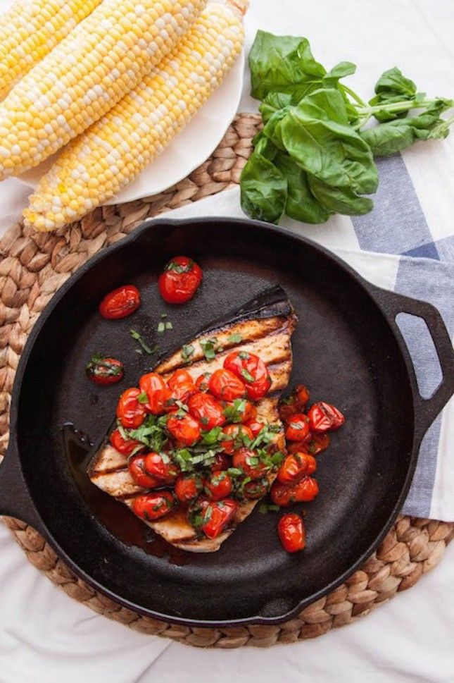 Grilled Swordfish With Tomato and Basil: 14 Healthy Recipes for Grilled Fish to Kick Off Warm Weather via Brit + Co