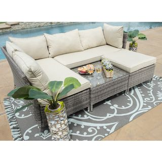 Shop for Corvus Bellanger 5-piece Outdoor Seating Set with Glass Tabletop. Get free delivery at Overstock.com - Your Online Garden
