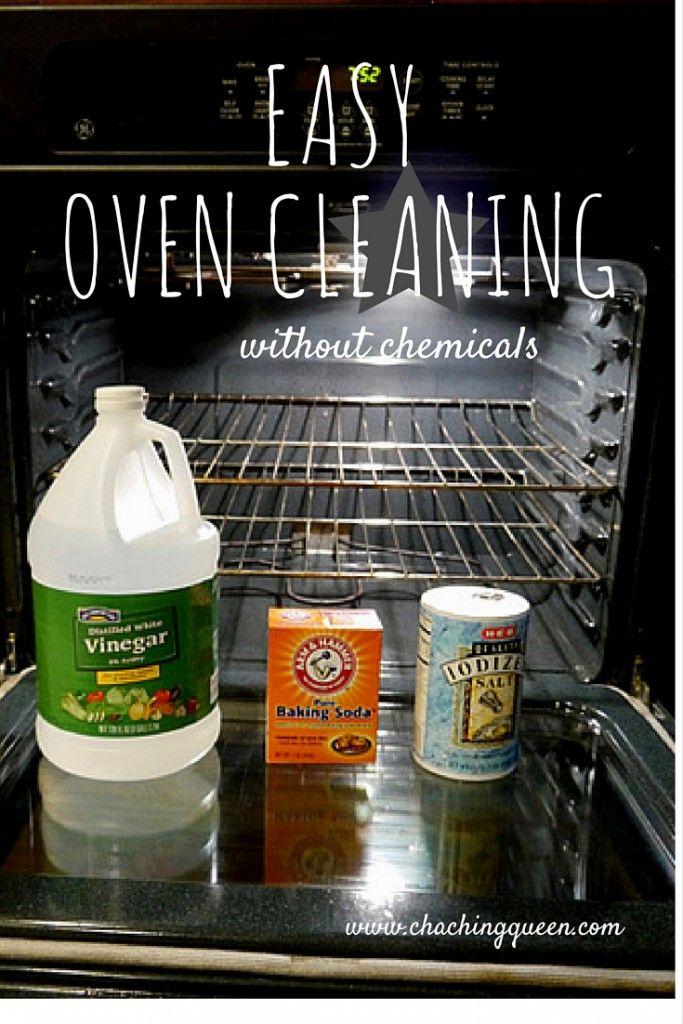 Oven cleaner: spray w/ 1:2 vinegar/water, sprinkle w/ soda and salt, spray again. Leave overnight. Spray again. Wipe clean