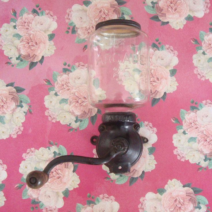 Coffee Grinder, Arcade 25, AntiqueWall Mount, Hand Crank Coffee Grinder, Cast Iron, Glass Jar by RamblinRanch on Etsy