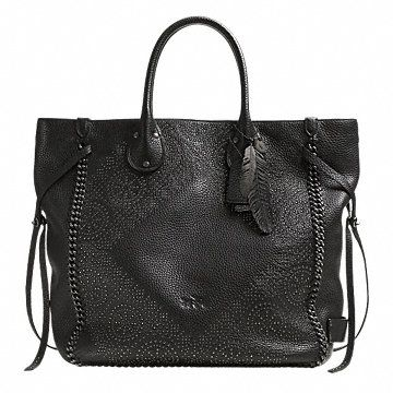 TATUM LARGE STUDDED TALL TOTE IN WHIPLASH LEATHER