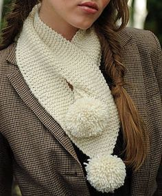 garter stitch, button hole and poms