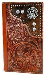 western leather wallets for men | Nocona Genuine Leather Western Rhinestone Men's Wallet w Concho | eBay