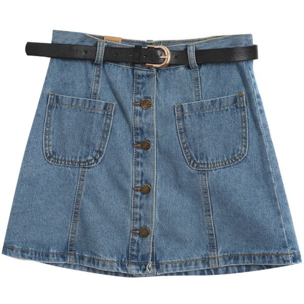 Chicnova Fashion High Waist Denim Skirt ($21) ❤ liked on Polyvore featuring skirts, bottoms, saias, denim, blue denim skirt, denim skirt, blue skirt, high waisted skirts e high rise skirts