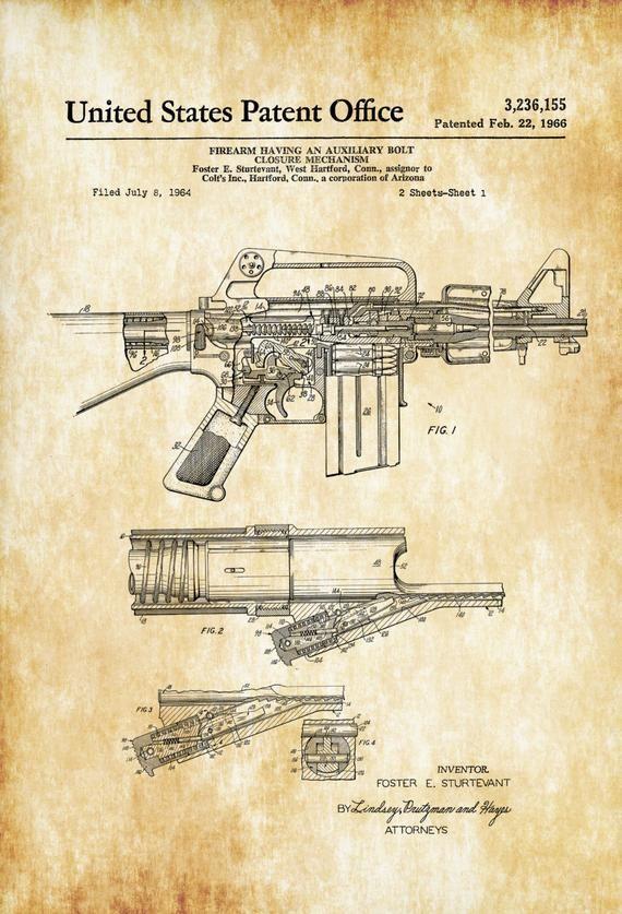 AR-15 Assault Rifle Gun Patent NEW Invention Patent Art POSTER