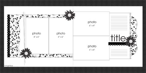 4 photos - PageMaps ~ Double Page Scrapbook Layout #sketch