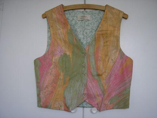 Handmade Ladies Cotton Waistcoat 10-12 Ice Cream Colours