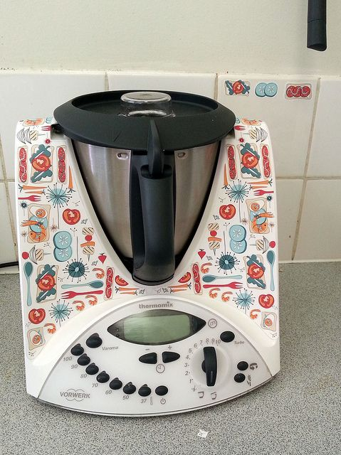 My newly decorated kitchen helper -  I made my own Thermomix skin using a Spoonflower decal @Spoonflower .