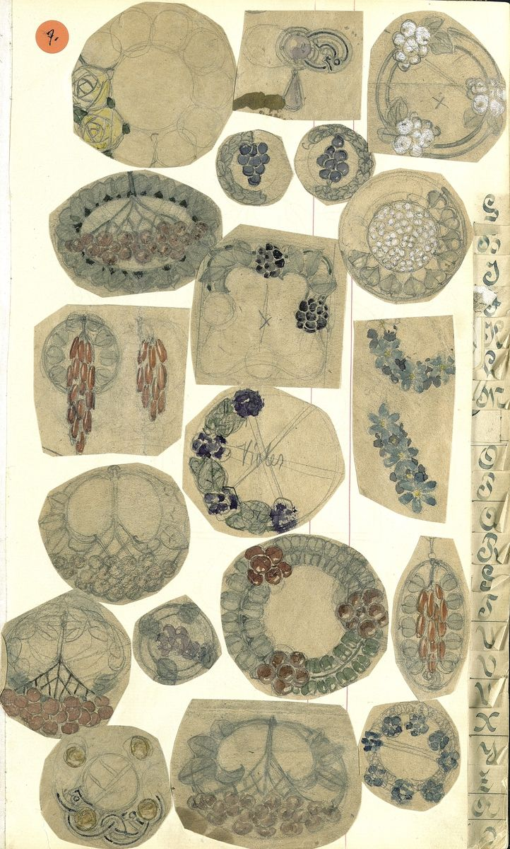Gustav Gaudernack. Nineteen watercolor/pencil scetches of brooches and buckle in various forms with stylized flower motifs. Tegning (skissebok) @ DigitaltMuseum.no
