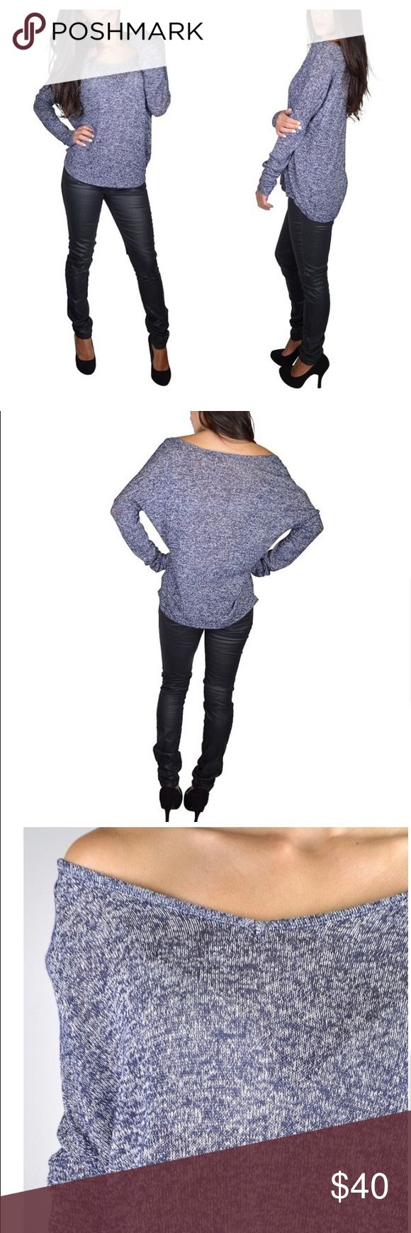 Blue V-Neck Sweater V-neck sweater. Can be worn off the shoulder as shown in picture. Rayon-polyester-spandex blend. Sweaters V-Necks
