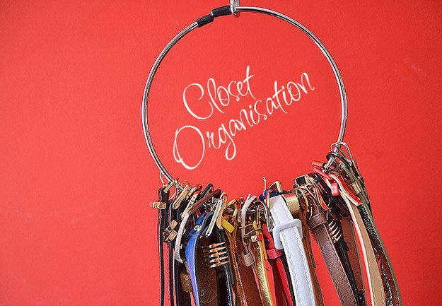 A circular belt hanger can keep all your belts in order and accessible — without the danger of all of them falling off when you go to pick out one belt.