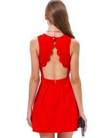 Vestido plisado sin manga-rojo