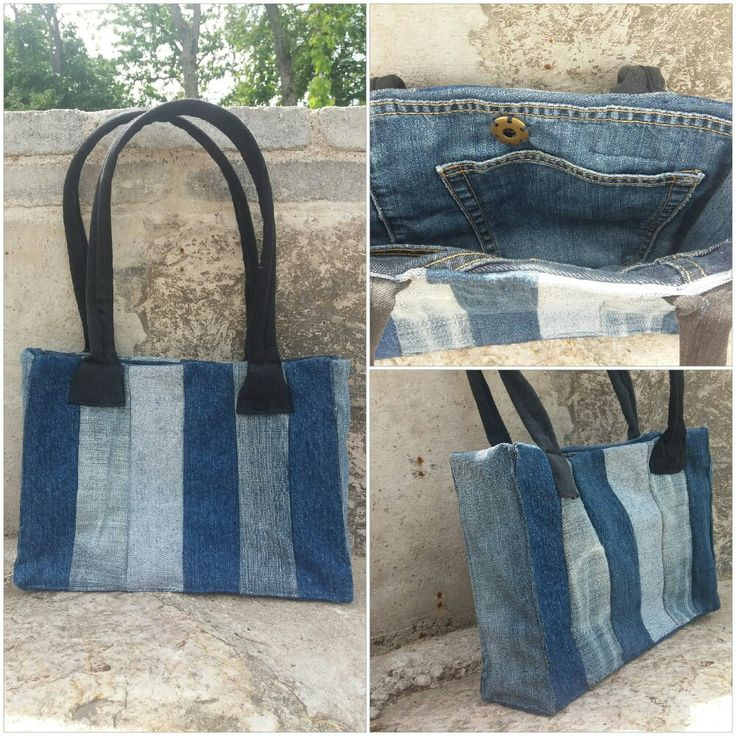 Handbag recycled denim, jeans; re-used by Anna