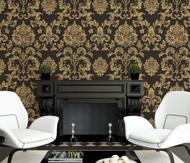 JZ·HOME 61101 Luxury Damask Wallpaper Rolls, Black/Brown