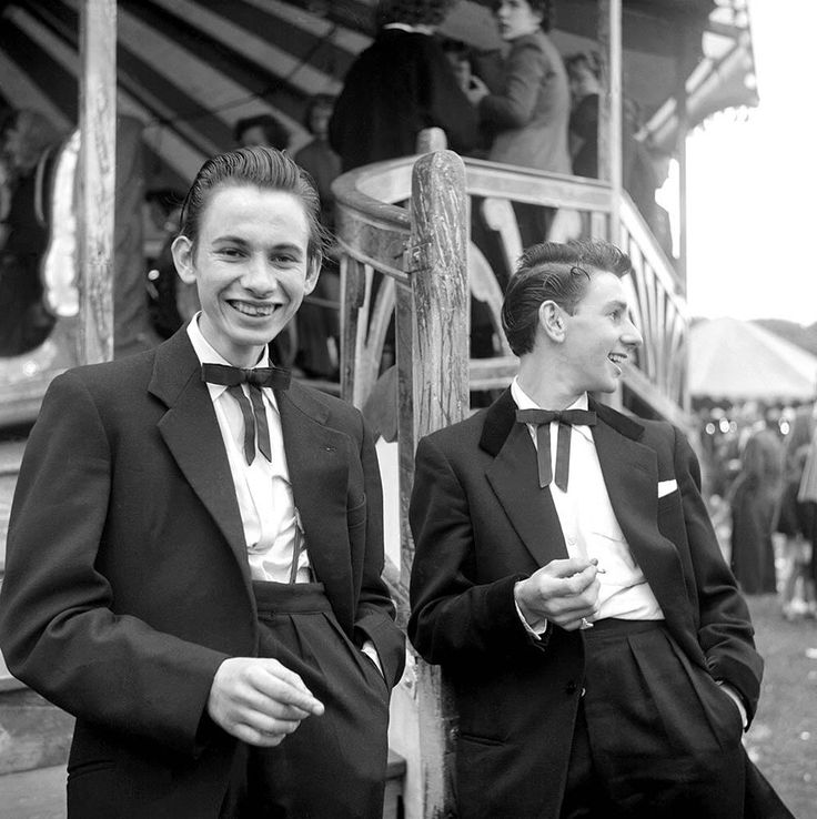 Two unnamed Teddy Boys at a funfair—one of only two pictures taken of Teddy Boys on this shoot.