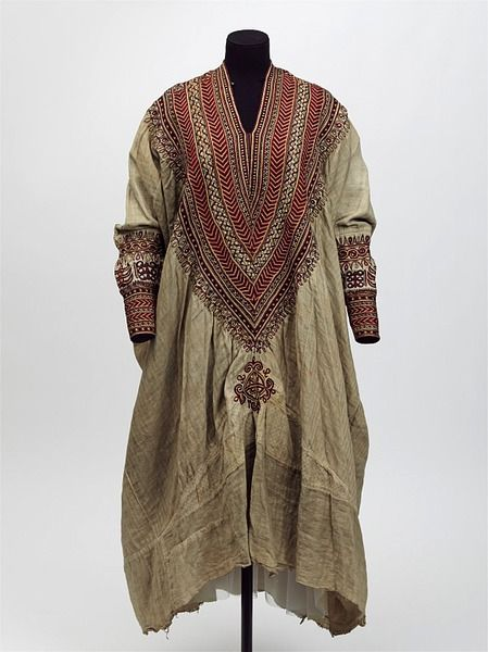 * Woman's dress Abyssinia 1860s Cotton embroidered with silk