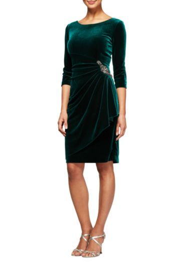 13c64cc829e0 Alex Evenings 3/4 Sleeve Side Ruch with Beaded Hip Dress | belk ...