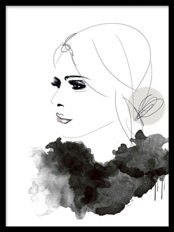 Fashion poster i gråtoner med kvinna i profil.