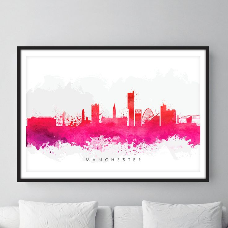 Manchester Skyline, Manchester England Cityscape England, Art Print, Wall Art, Watercolor, Watercolour Art Decor by deadgoodart on Etsy