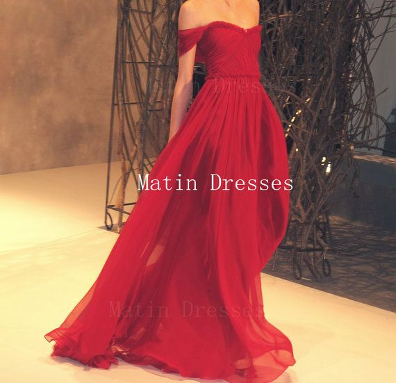 Custom Made A line Floor Length Maxi Red Off Shoulder Prom Dresses, Red Bridesmaid Dresses, Dresses for prom, long red prom dresses
