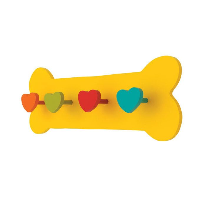This charming dog leash holder is made of solid wood. Beautifully finished with great attention to detail, this will be a cherished household item for years to come. With four colorful heart shaped pe