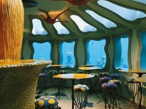 Underwater restaurant at the coral reefs of Eilat.